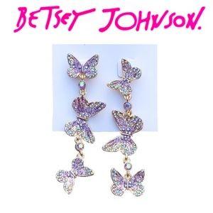 Betsey Johnson Pave Butterfly Dangle Earrings
